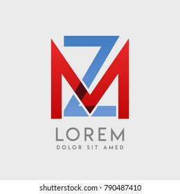 """MZ logo letters with """"blue and red"""" gradation"""
