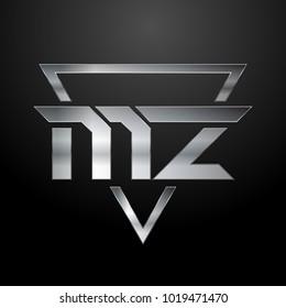 MZ Logo, Metal Logo, Silver Logo, Monogram, Polygon