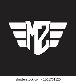 MZ Logo monogram with emblem and wings element design template