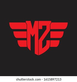 MZ Logo monogram with emblem and wings element design template on red colors