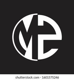 MZ Logo monogram with Negative space style design tempate