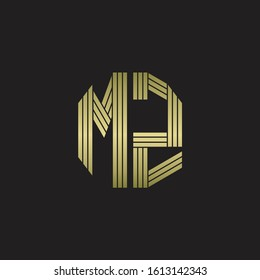 MZ Logo monogram outline style linked isolated with gold colors