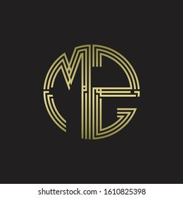 MZ Logo monogram triple ribbon style line design template isolated with gold color