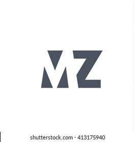 MZ Logo. Vector Graphic Branding Letter Element. White Background