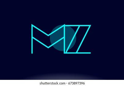 mz m z blue line circle letter logo alphabet creative company vector icon design template