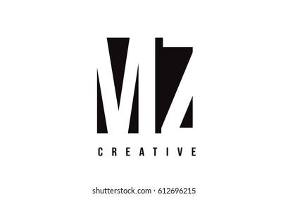 MZ M Z White Letter Logo Design with Black Square Vector Illustration Template.