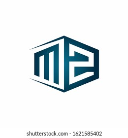 MZ monogram logo with hexagon shape and negative space style ribbon design template