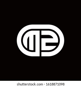 MZ monogram logo with an oval style on a black background