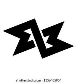 MZM, MLM, ab, qb initials geometric letter company logo