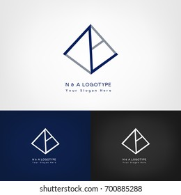 'N' and 'A' combination logo.  Pyramid logotype. Abstract vector illustration.