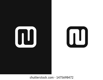 N alphabet inspiration icon in square rounded shape. Monogram of the initial letters NU. Simple black and white vector illustration icon in a modern style. Black white version element.