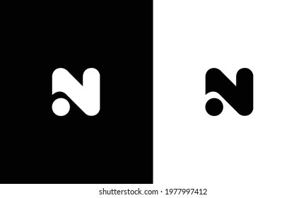 N alphabet letter logo icon in black and white.