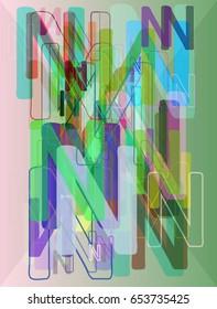 N Alphabet pattern art