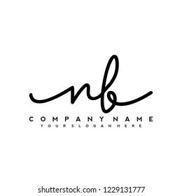 N B Initial handwriting logo vector