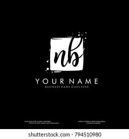 N B initial square logo template vector