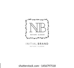N B NB Beauty vector initial logo, handwriting logo of initial signature, wedding, fashion, jewerly, boutique, floral and botanical with creative template for any company or business.