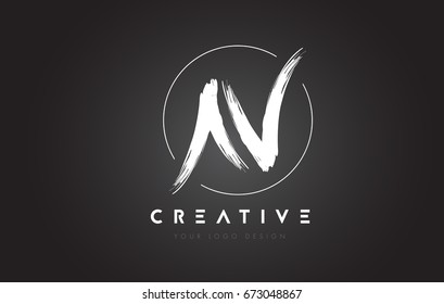N Brush Letter Logo Design. Artistic Handwritten Brush Letters Logo Concept Vector.