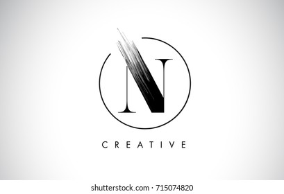 N Brush Stroke Letter Logo Design. Black Paint Logo Leters Icon with Elegant Circle Vector Design.