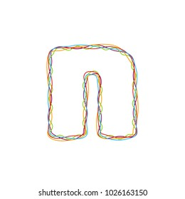 N Colorful String Letter Logo Icon Design