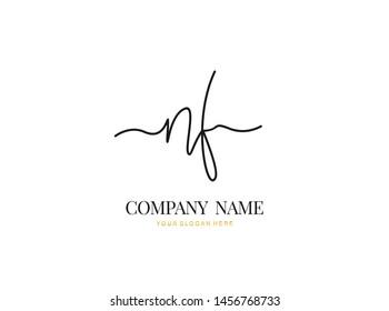 N F NF Initial handwriting logo design with circle. Beautiful design handwritten logo for fashion, team, wedding, luxury logo.
