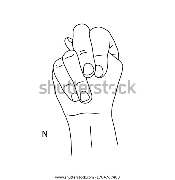 N Fourteenth Letter Alphabet Sign Language Stock Vector Royalty Free 1704769408