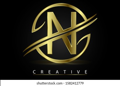 N Golden Letter Logo Design Vector Illustration with Circle Swoosh and Gold Metal Texture. Creative Metallic Letter for Company Name, Label, Icon, Cover, Emblem, Print, Textile, Card or Web Page.