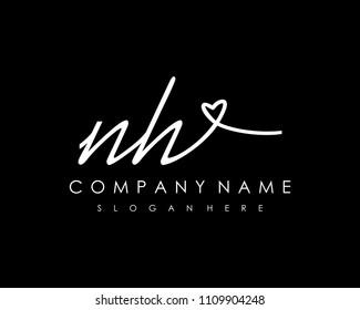 N H Initial handwriting logo vector