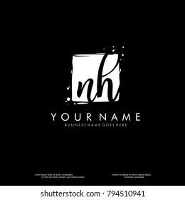 N H initial square logo template vector