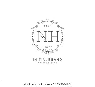 N H NH Beauty vector initial logo, handwriting logo of initial signature, wedding, fashion, jewerly, boutique, floral and botanical with creative template for any company or business.