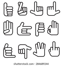 n Hand collection, different hands,Vector icon set