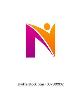 N initial alphabet letter logo with swoosh man, orange purple