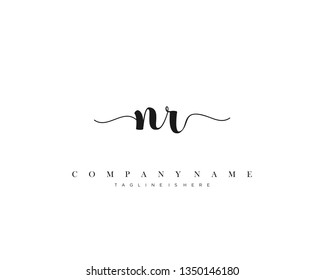 N initial handwriting logo template with luxury color vector