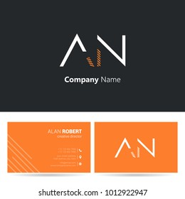 A & N joint logo line letter design with business card template