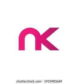 n k letter alphabet text pink dots creative company logo icon design template