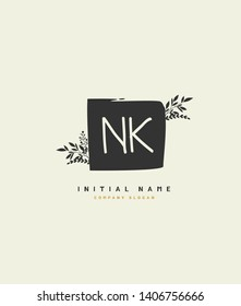 N K NK Beauty vector initial logo, handwriting logo of wedding, fashion, jewerly, heraldic, boutique, floral and botanical with creative template for any company or business.