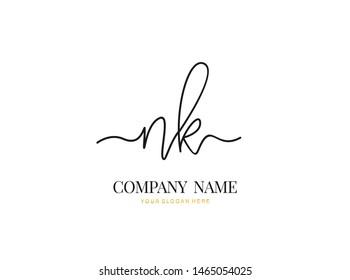 N K NK Initial handwriting logo design with circle. Beautyful design handwritten logo for fashion, team, wedding, luxury logo.