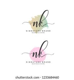 N K NK Initial logo template vector