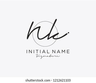 N K Signature initial logo template vector