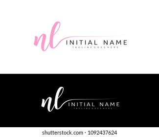 N L Initial handwriting logo vector. Hand lettering for designs.