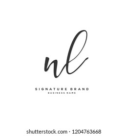 N L NL Initial letter handwriting and  signature logo concept design