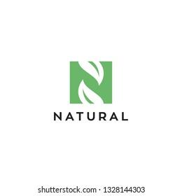 N with leaf for natural logo design