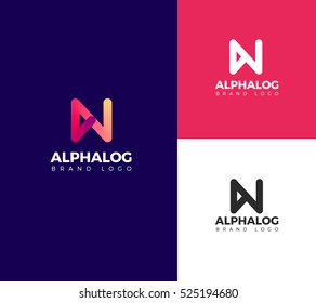 N Letter Alphabet logo in color, black and white