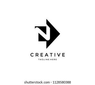 N Letter Arrow Logo Design