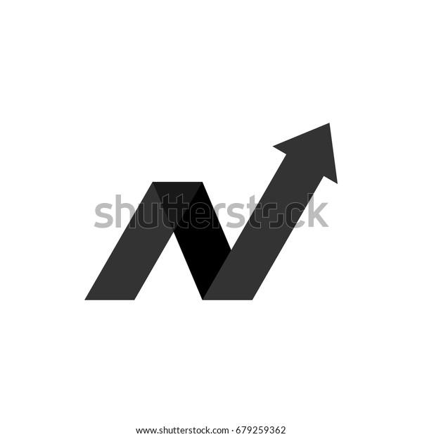 N Letter Arrow Logo Template Illustration Stock Vector