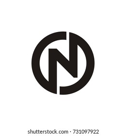 N letter circle or N O and O N letter vector logo