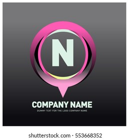N letter colorful logo in the circle. Vector design template elements for your application or company identity.