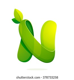 N letter with green leaves logo, volume icon. Font style, vector design template elements for your ecology application or corporate identity.