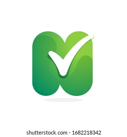 N letter green logo with check mark inside. Perfect for approve labels, quality print, verification posters etc.