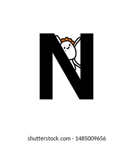 N letter hand drawn cartoon illustration with cute cartoon comic man smiling kawaii