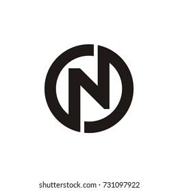 N letter linked. N letter circle logo. N O and O N letter. modern design.vector illustration